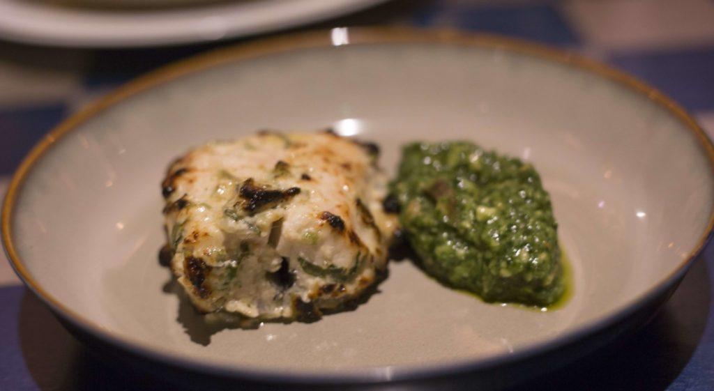 Malai Stone Bass Tikka ,mace, green cardamom & avocado chutney