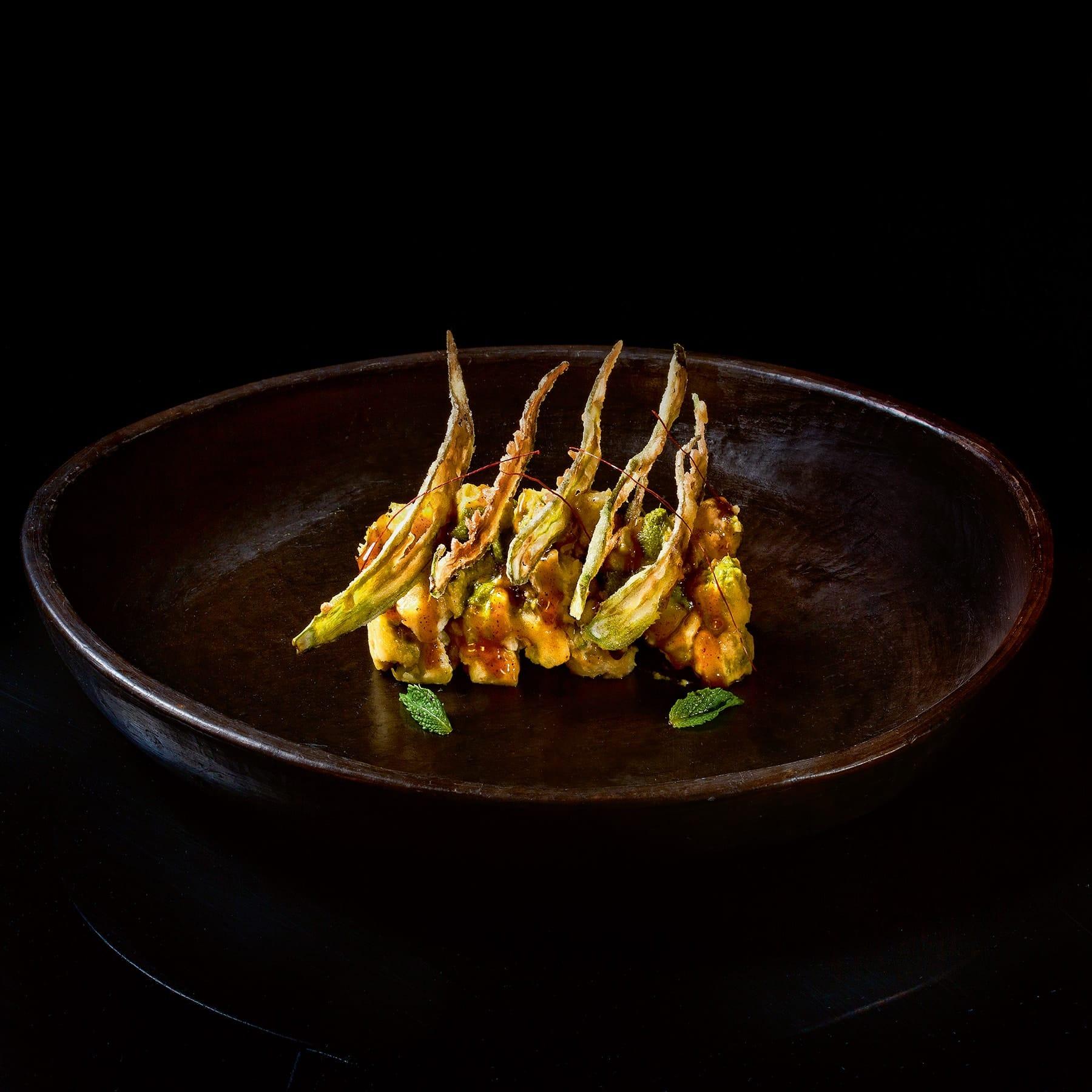 Ash Roasted Indian Sweet Potato, Herb Yogurt, Crispy Okra-min