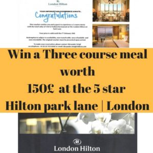 Win Three course Dinner Hilton London Park lane Fine dining Indian