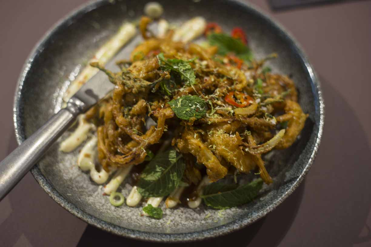SQUID AND SAMPHIRE PAKORA Temper city restaurant food tasting by Fine dining indian food magazine